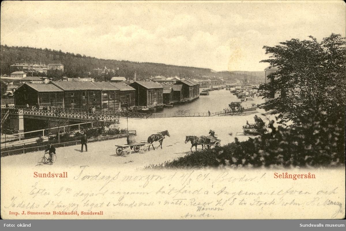Vykort med motiv på Storbron som går över Selångersån i Sundsvall.
