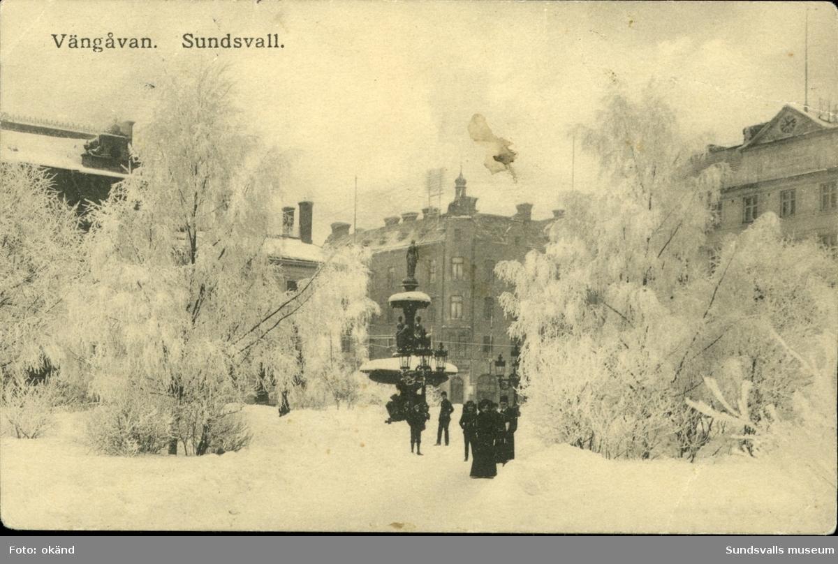 Vykort över ett vintervitt Vängåvan i Sundsvall.
