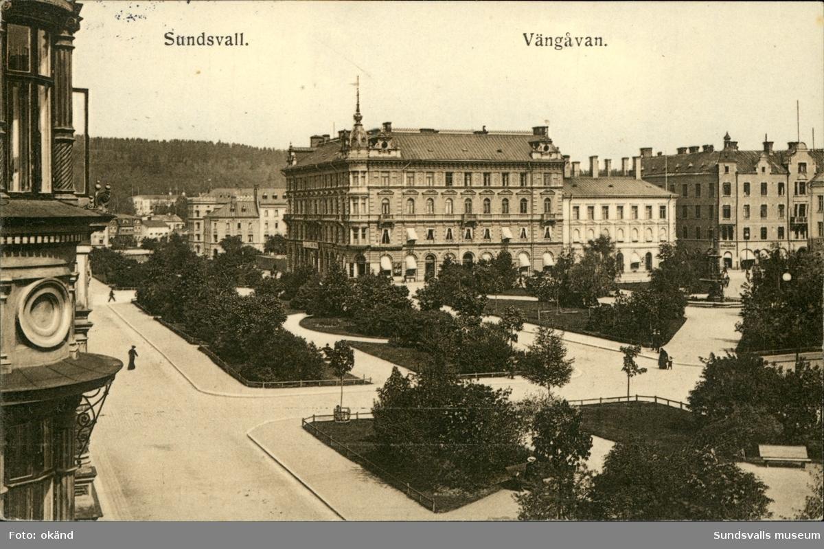 Vykort med motiv över Vängåvan i Sundsvall.