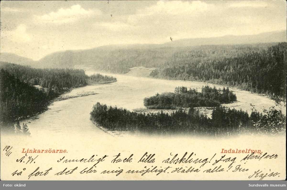 Vykort med motiv över Linkarsöarna i Indalsälven.