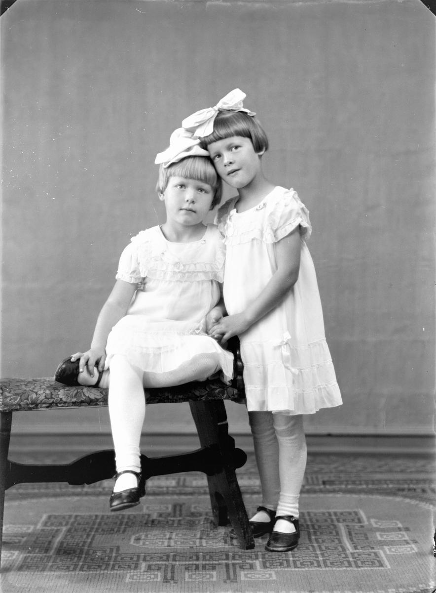 Portrett.  To unge piker. Brudepiker.  Bestilt av Lars Falkeid