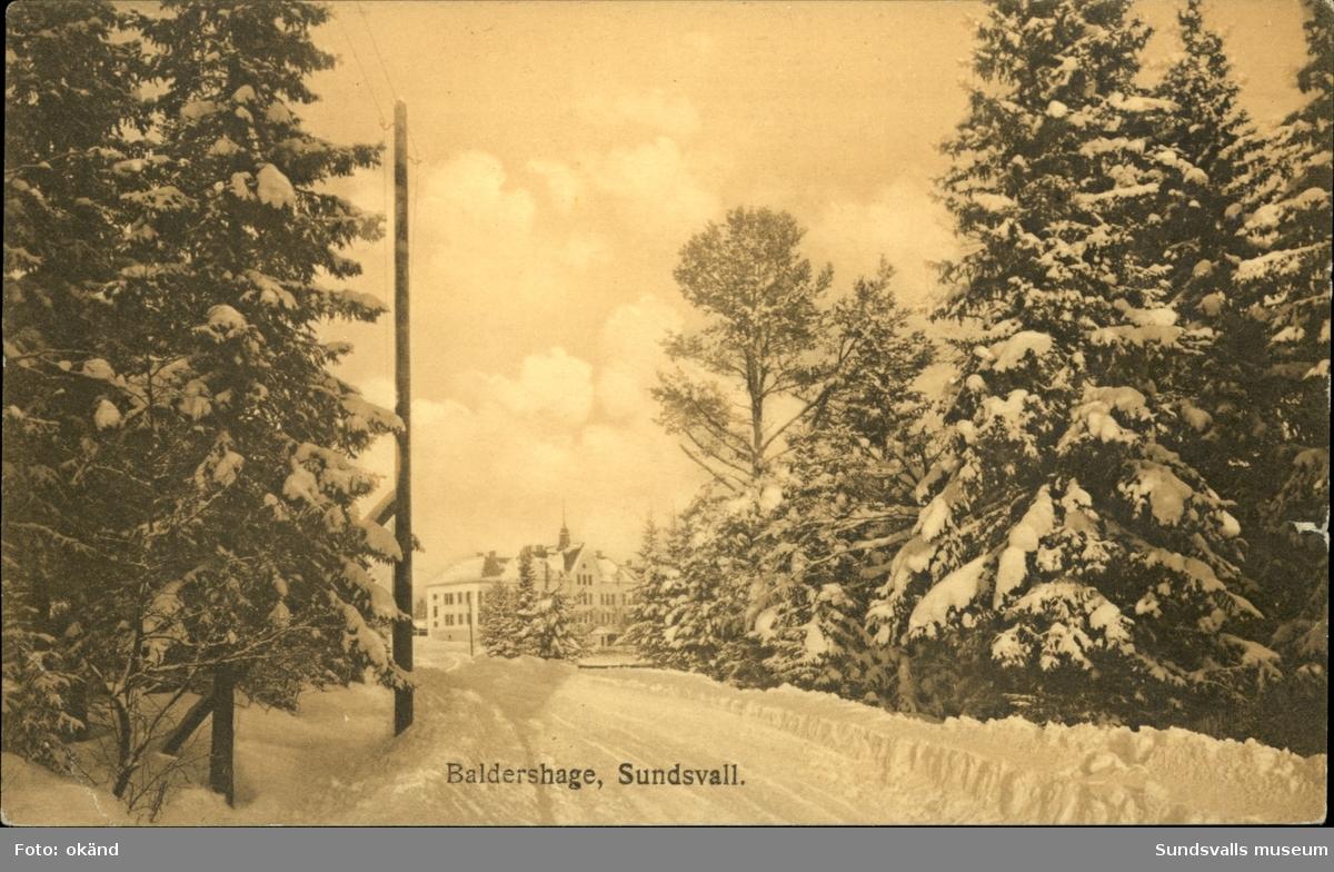 Vykort med vintermotiv över Baldershage i Sundsvall.