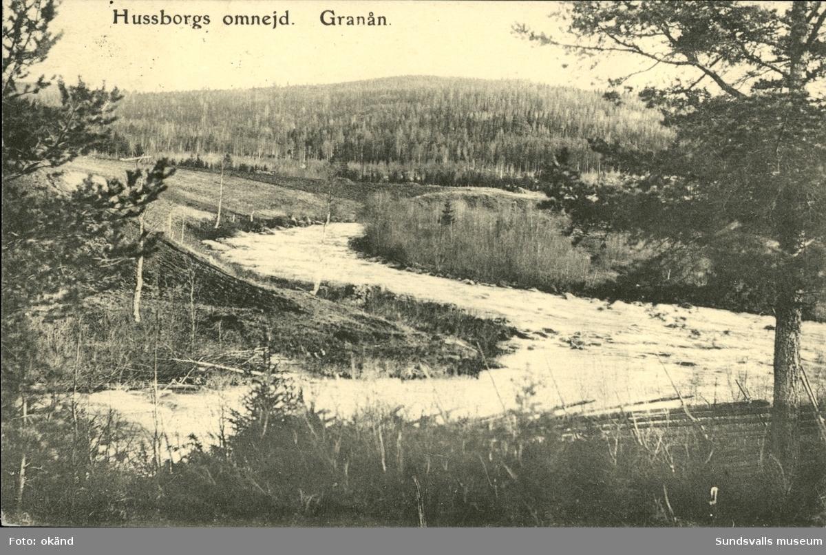 Vykort med motiv över Granån och Hussborgs omnejd  i Ljungaverk.