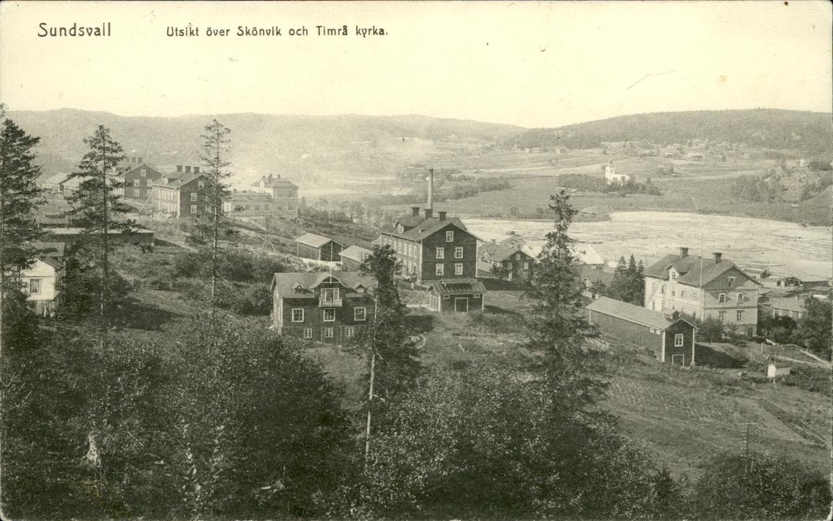 Vykort med motiv över sågverkssamhället Skönvik och Timrå kyrka.