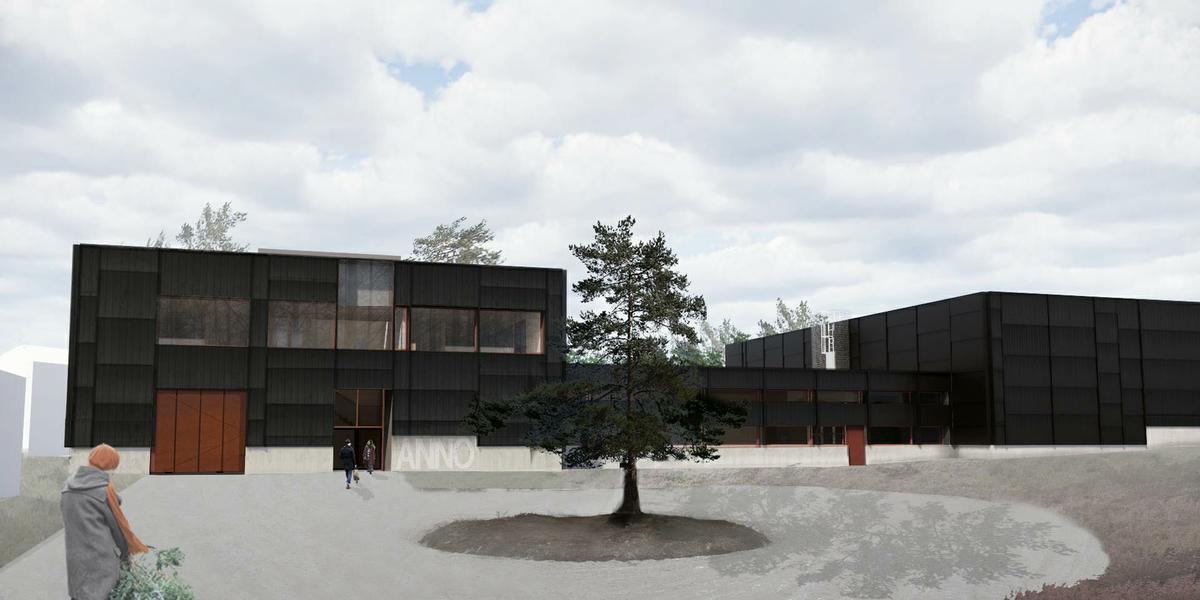 Arkitekttegning av adkomsten til det nye dokumentasjonssenteret som Anno skal bygge ved Glomdalsmuseet.