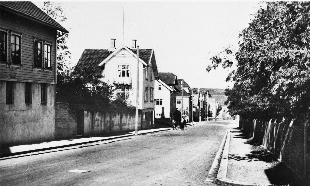 Hognetadvegen mot Torget. Til høgre bak trea ligg eigendomen til Jæren Meieri. På venstre sida Rommetveit-huset, dyrlege Gundersen, Fjogstad, apoteket Viben og Kindervaag Trelast