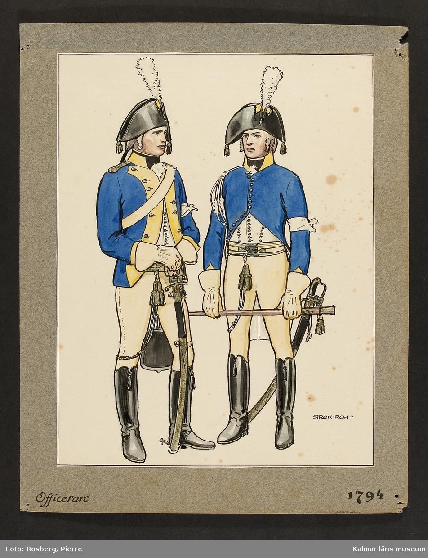 Motiv med officerare som visar utrustning, uniform och tillbehör vid Smålands husarregemente 1794.