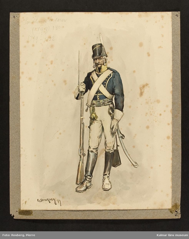 Motiv med husar som visar utrustning, uniform och tillbehör vid Smålands husarregemente (1799), 1800.