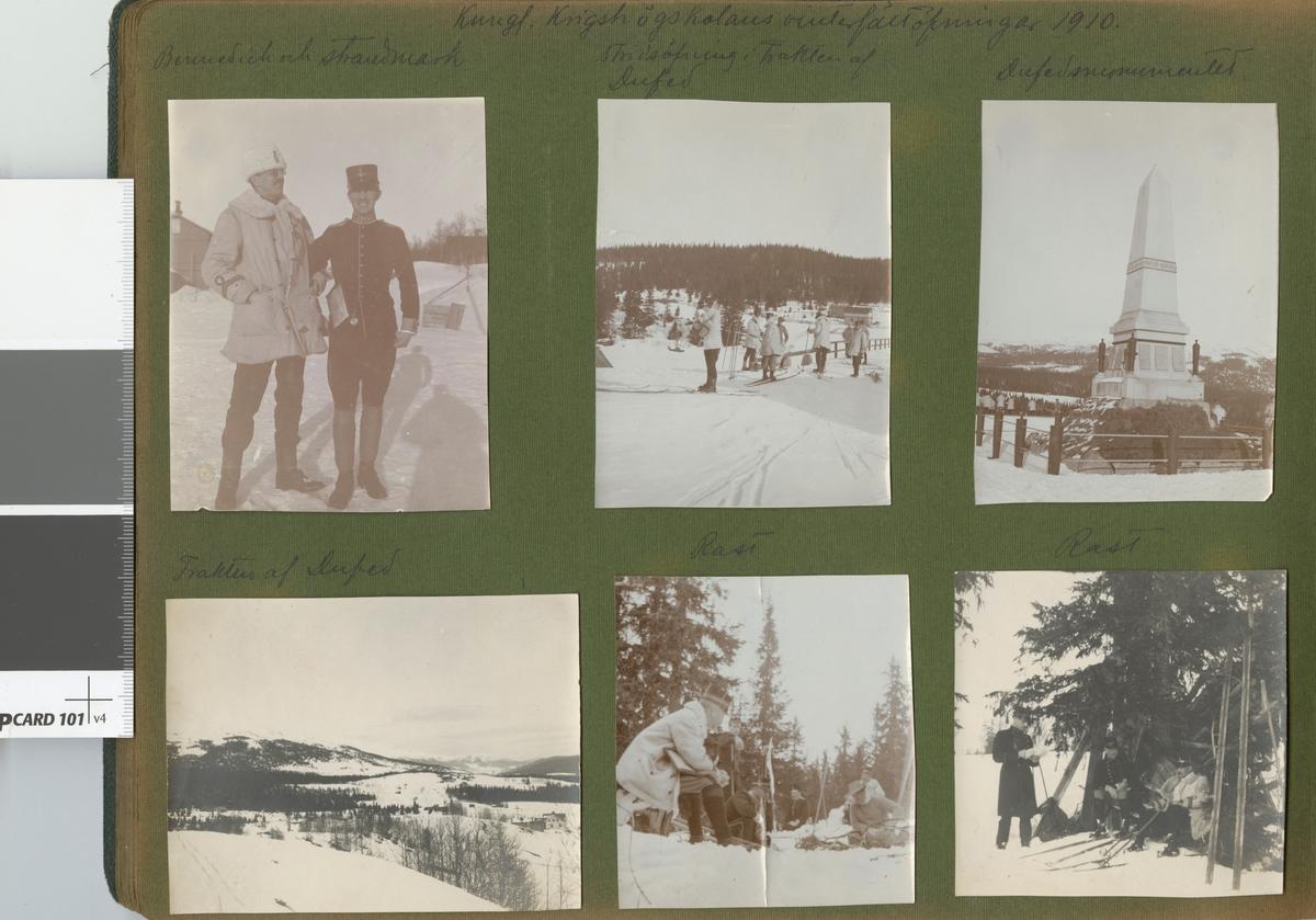 "Text i fotoalbum: ""Kungl. Krigshögskolans vinterfältövningar 1910. Trakten af Dufed""."
