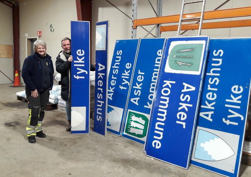 Innsamling veiskilt Akershus fylke. Foto: MiA. (Foto/Photo)