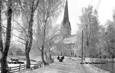 Svart-hvitt foto av rimete bjørketrær som leder ned mot Hamar Domkirke, og en hest med slede rett foran kirken.. Foto/Photo