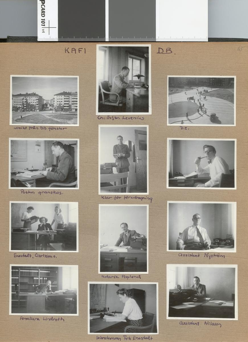 """Text i fotoalbum: """"KAFI DB (=Kungl. Arméförvaltningens Driftsbyrå). Utsikt från DB fönster""""."""