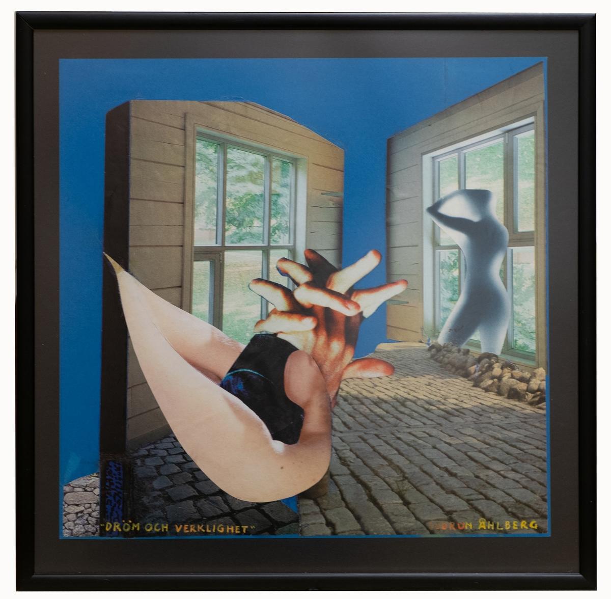 Collage av Gudrun Åhlberg, 2002. Originalram av trä, svart.