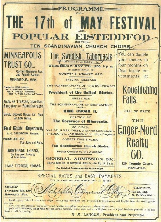 17. maiprogram 1905 i Minneapolis. Kilde: Norsk utvandrermuseum. (Foto/Photo)