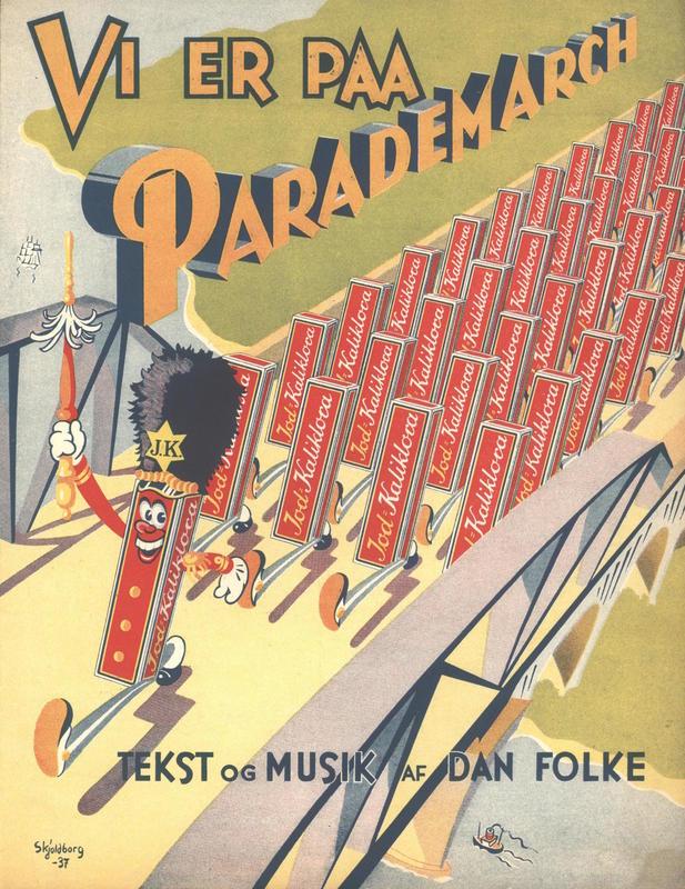 VI ER PAA PARADEMARSCH (JOD-KALIKLORA-MARSCH) Komponist/tekstforfatter: Dan Folke Utgiver: M. Rotwitt. København, 1937 Illustratør: Skjoldborg Annonsør/produkt: Jod-kaliklora tannpasta (Foto/Photo)