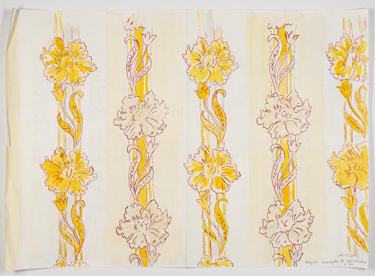 Dekorativ större blomma och liten tulpan över ett vertikalt randmönster. Tryck i vinrött och gult på ett ofärgat papper.