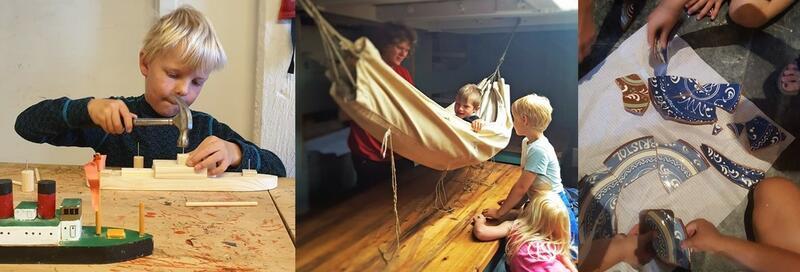 Collage med tre bilder; Gutt med hammer, som bygger en klossebåt. Et barn i en hengekøye, med barn rundt. Og hender til barn som setter sammen keramikktallerkener. (Foto/Photo)