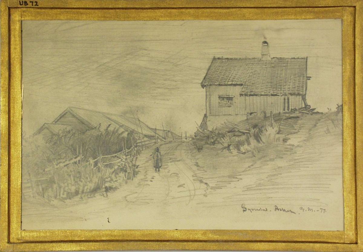 Forsiden: Motiv fra gården Solstad i Asker. Hestevandring.. Baksiden: Motiv fra Syverstad i Asker