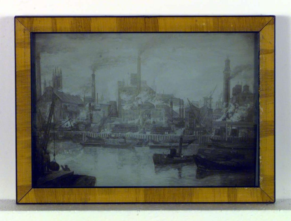 'Fabrikker ved Themsen' skildrer industristrøket langs elven i London. På elven i forgrunnen ligger flere lastebåter, og langs elvebredden sees heisekraner, stabler med kasser, lagerskur og fabrikker. Fra fabrikkenes høye skorstener kommer tykk, grå røyk.