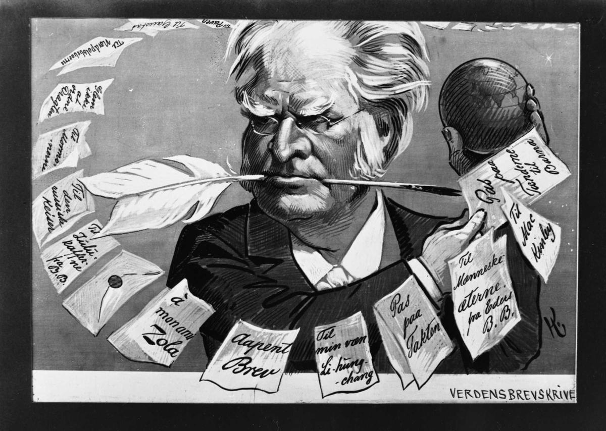 Karikatur, Verdensbrevskriver, Bjørnson, penn, brev,