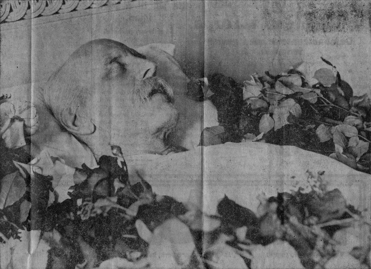 Avisutklipp, Fridtjof Nansen på likstrå,
