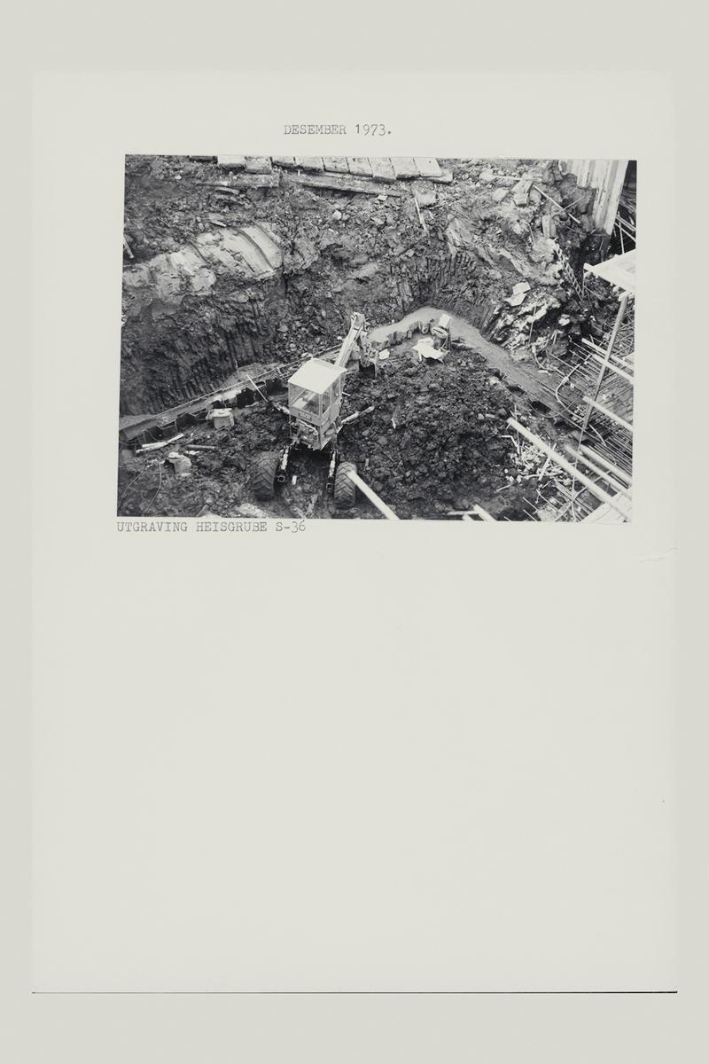 eksteriør, postterminal, Oslo, Postgiro, byggeprosess, desember 1973, utgraving heisgrube s-36