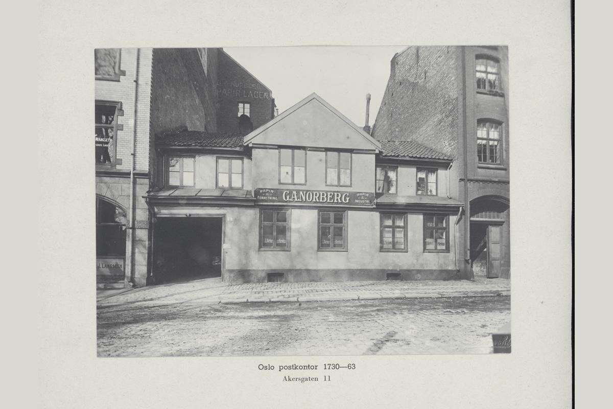 eksteriør, postkontor, Oslo, Akersgaten 11, år 1730-63