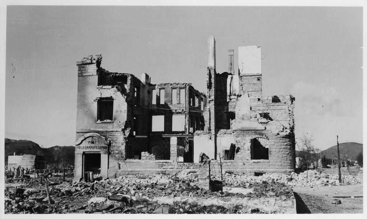 krigen, Bodø, postkontoret i ruiner