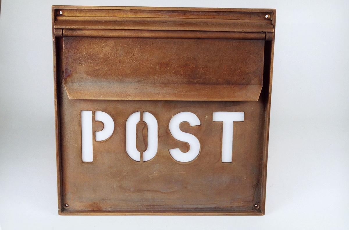 Postmuseet, gjenstander, postkasse, brevkasse, utendørs postinnkast i bronse, stor type, Post.