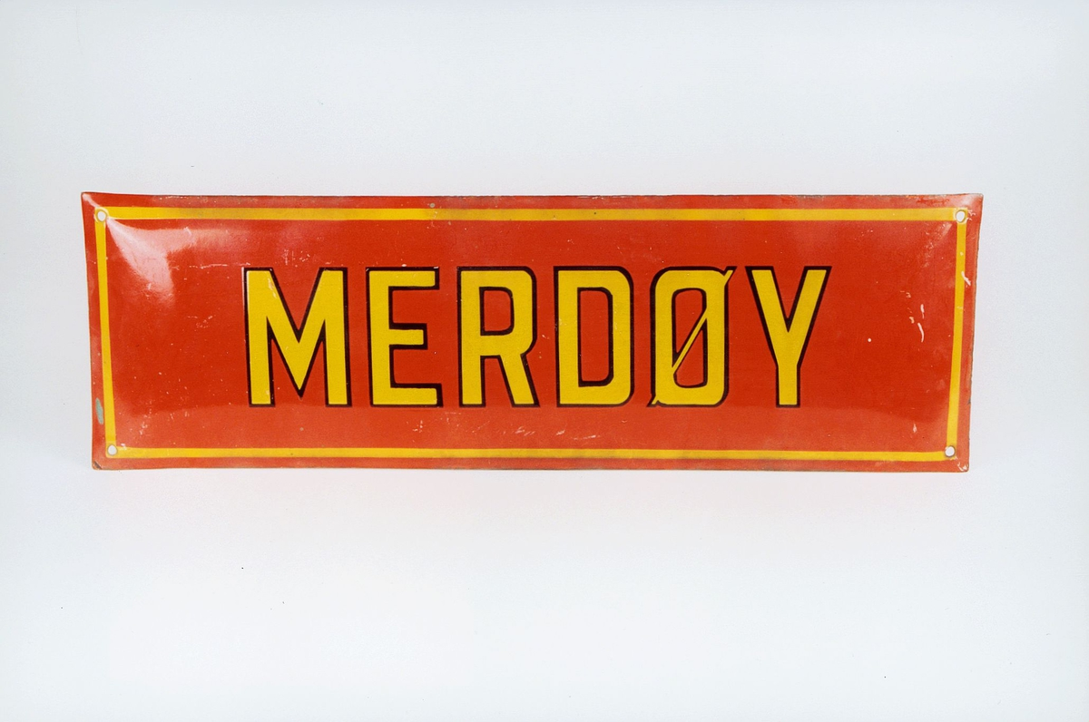 Postmuseet, gjenstander, skilt, stedskilt, stedsnavn, Merdøy.