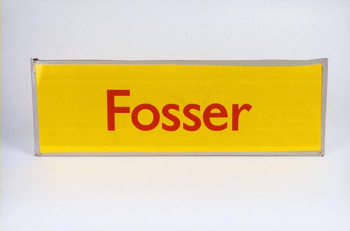Postmuseet, gjenstander, skilt, stedskilt, stedsnavn, Fosser.