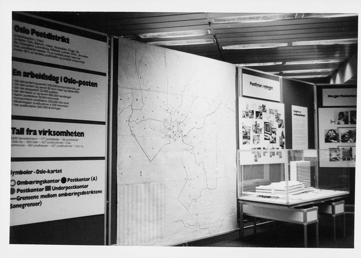 markedsseksjonen, Oslo postgård 50 år, utstilling, modell av postgiro, informasjon
