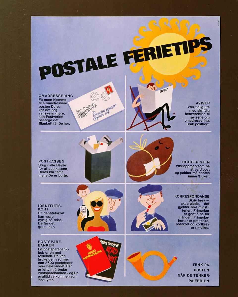 postmuseet, plakater, Postale ferietips, omadresering, aviser, postkassen, liggefristen, identitetskort, korrespondanse, Postsparebanken, Tenk på Posten når De tenker på ferien, motivet finnes også på CD-rom PRO1, bilde nr 80