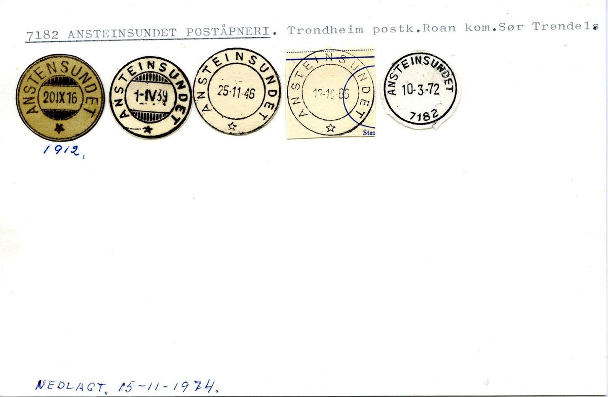 Stempelkatalog,  7182 Ansteinsundet poståpneri. Trondheim postkontor. Roan kommune Sør-Trøndelag.
