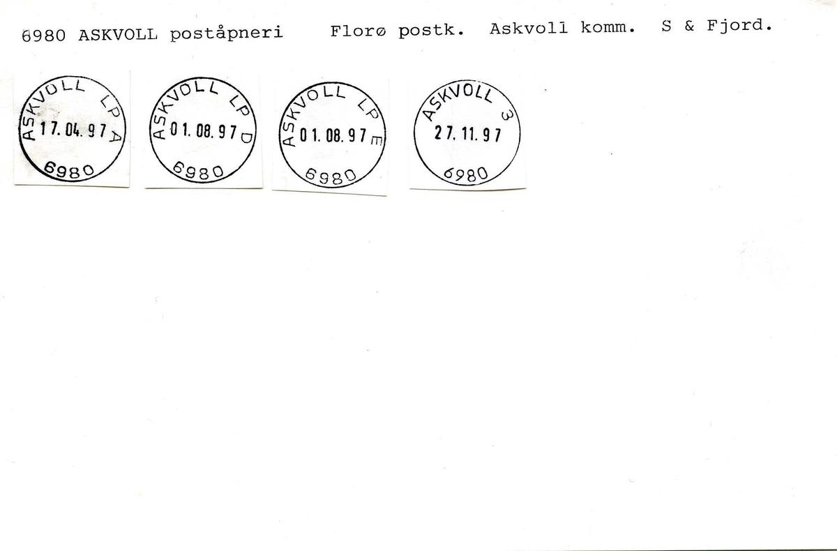 Stempelkatalog, 6980 Askvoll, (Askevold)(Askvold), Florø, Sogn og Fjordane