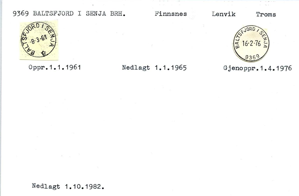 Stempelkatalog, 9369 Baltsfjord i Senja brevhus. Finnsnes postkontor. Lenvik kommune. Troms fylke.