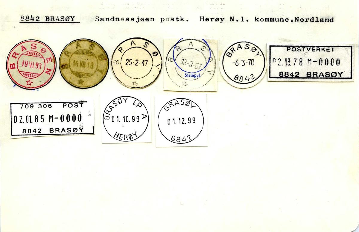 Stempelkatalog, 28842 Brasøy, (Brasøen), Sandnessjøen, Herøy, Nordland
