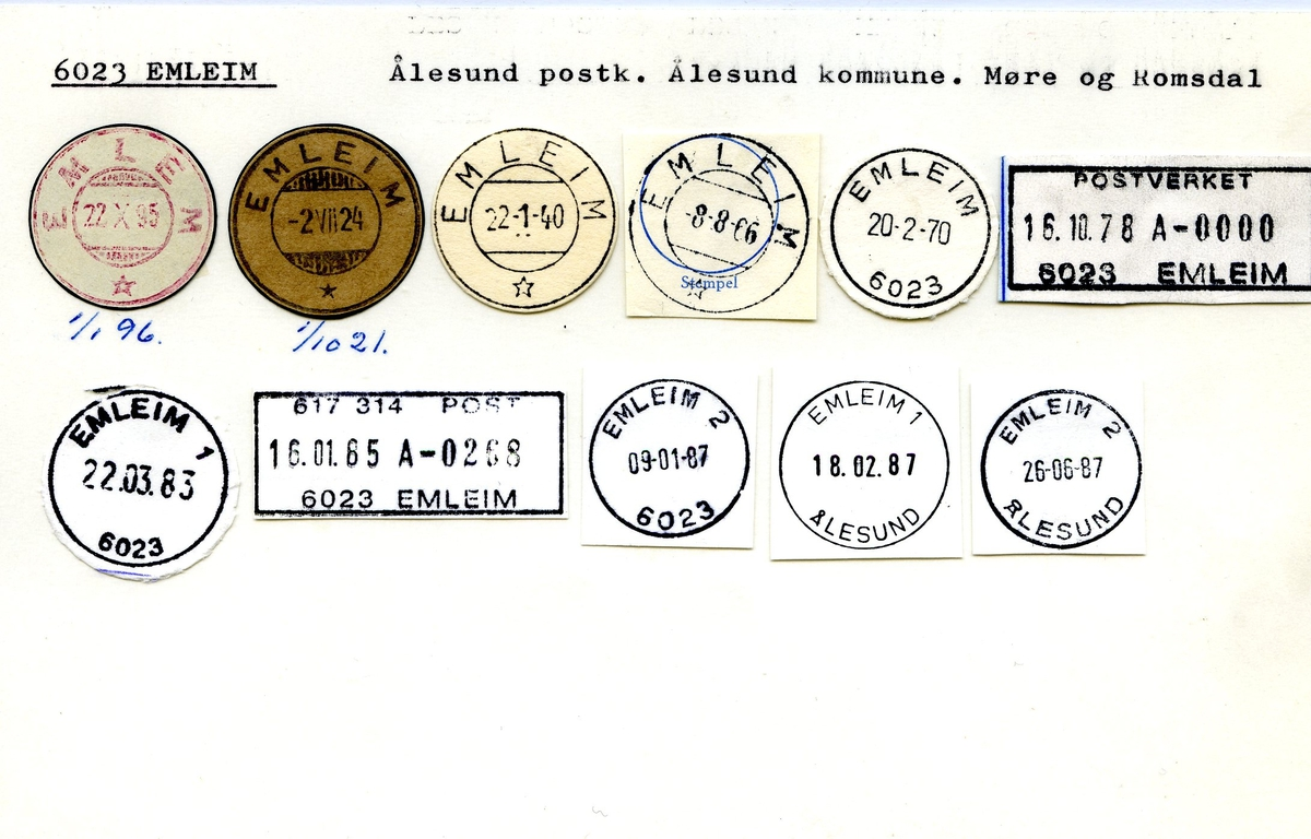 Stempelkatalog. 6023 Emleim. Ålesund postkontor. Ålesund kommune. Møre og Romsdal fylke.
