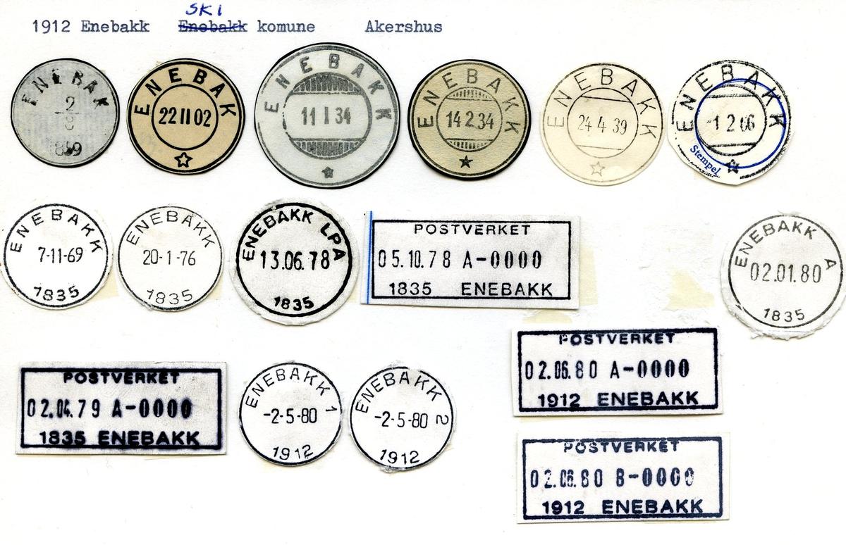 Stempalkatalog, 1912 Enebakk (Enebak), Ski, Akershus