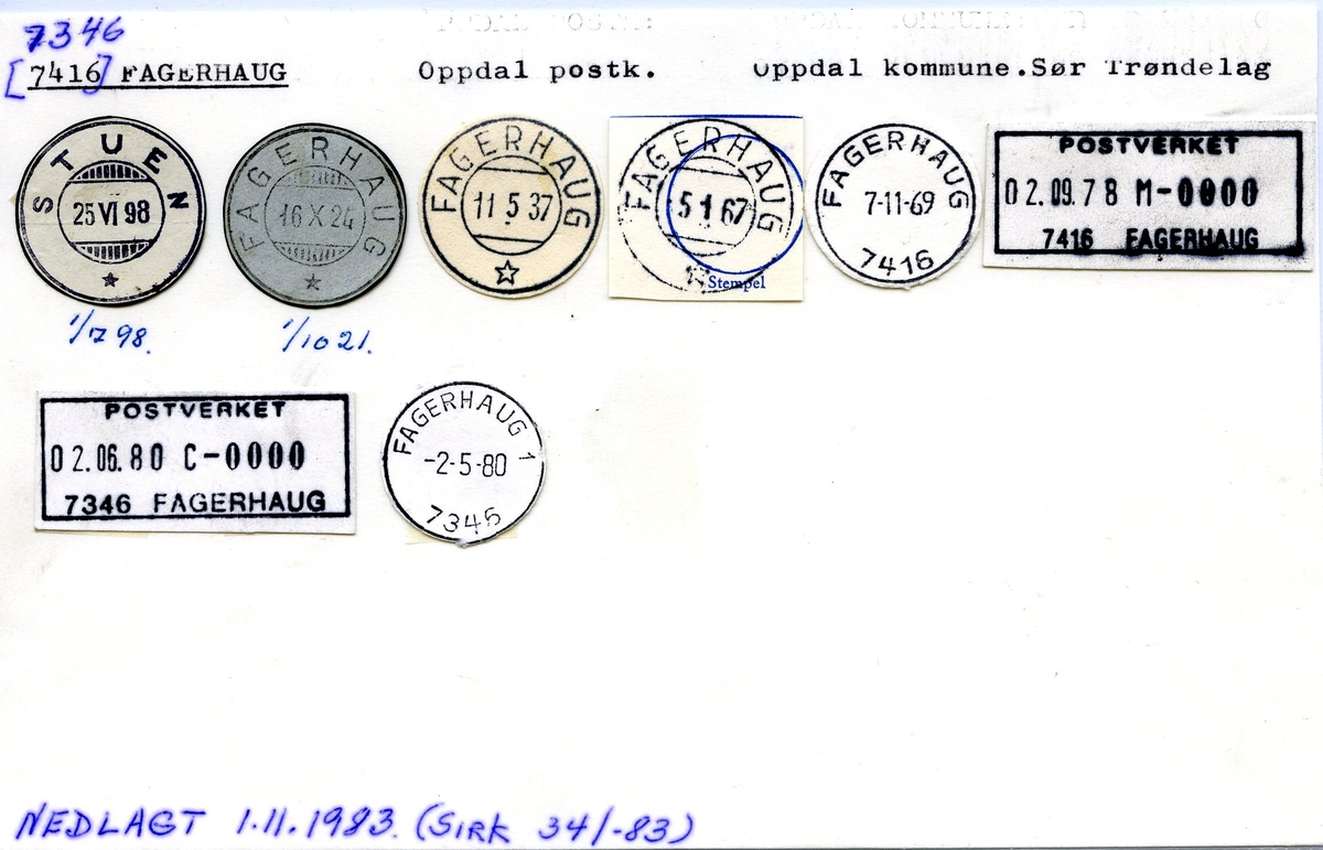 Stempelkatalog.7346 Fagerhaug, (Stuen), Oppdal, Sør-Trøndelag