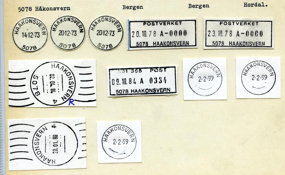Stempelkatalog. 5078 Haakonsvern. Bergen postkontor. Bergen kommune. Hordaland fylke.
