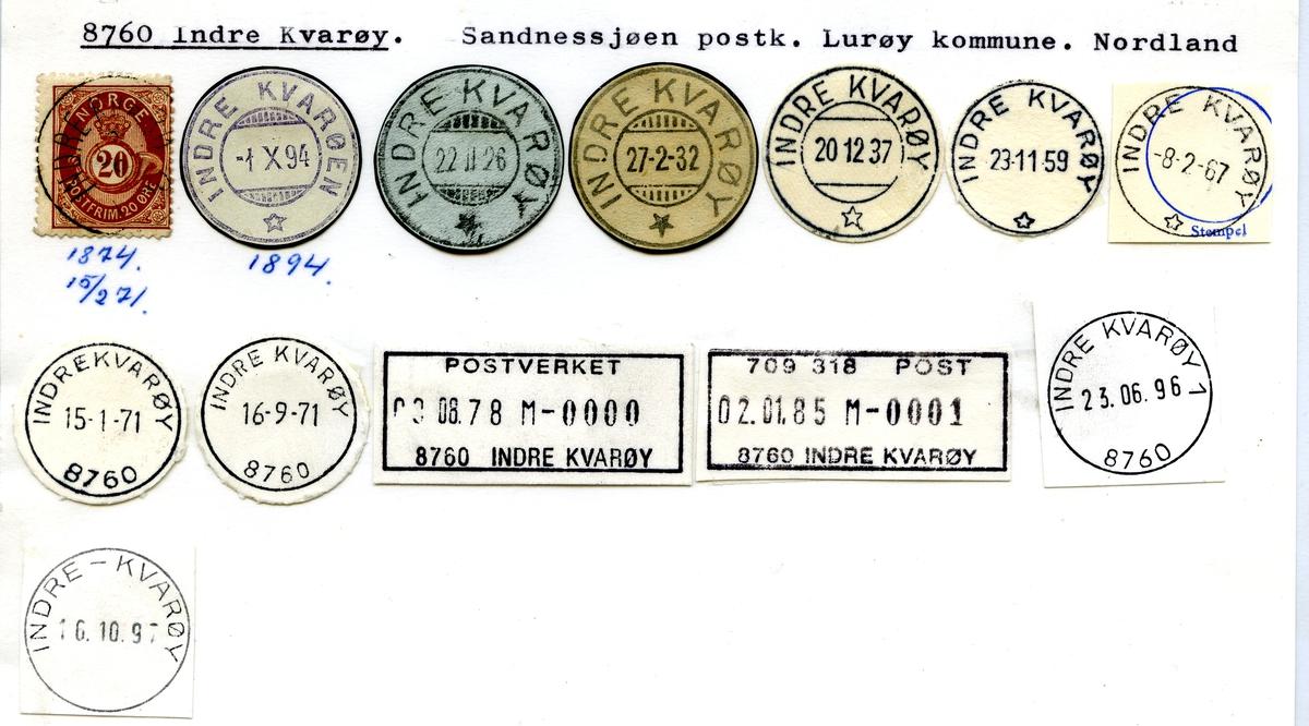Stempelkatalog. 8760 Indre Kvarøy. Sandnessjøen postkontor. Lurøy kommune. Nordland fylke.