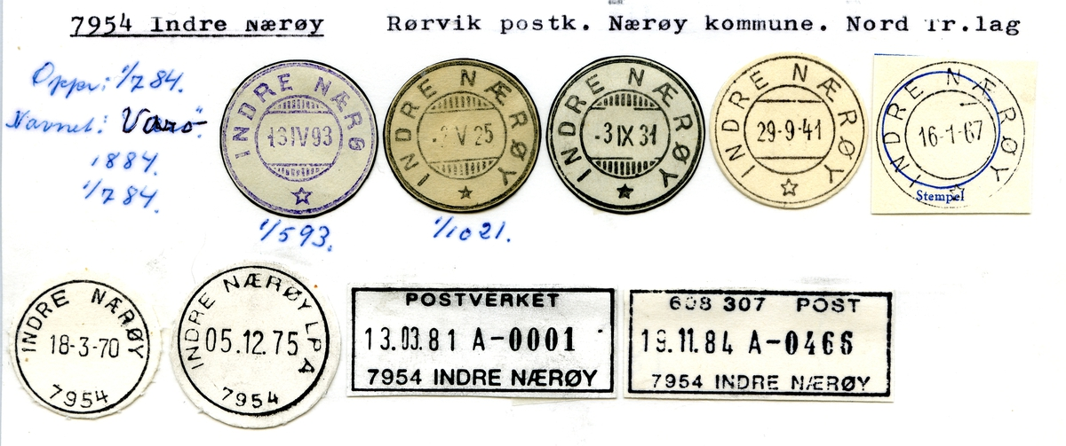 Stempelkatalog. 7954 Indre Nærøy. Rørvik postkontor. Nærøy kommune. Nord-Trøndalag fylke.