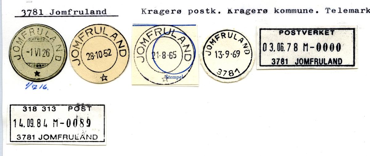 Stempelkatalog. 3781 Jomfruland, Kragerø postk., Kragerø kommune, Telemark