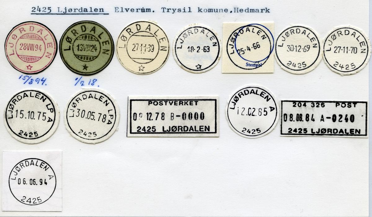 Stempelkatalog, 2425 Ljørdalen, Elverum, Trysil kommune, Hedmark