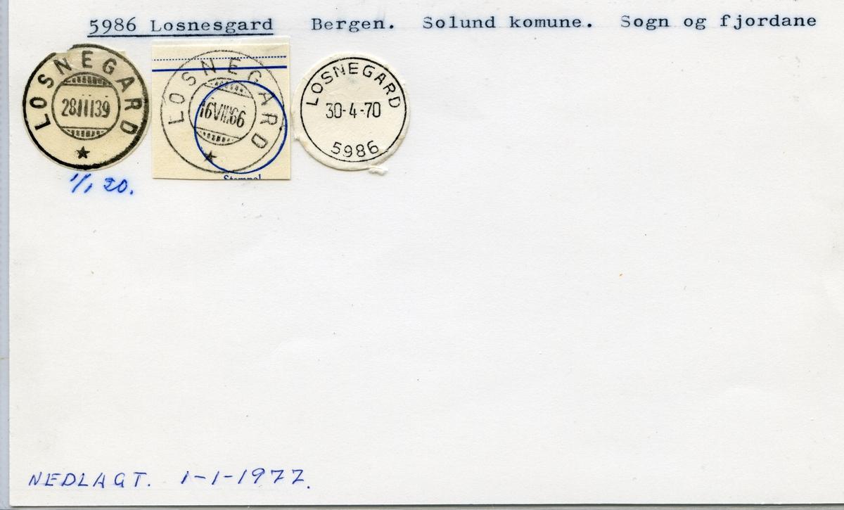 Stempelkatalog,5986 Losnesgard, Solund kommune, Sogn og Fjordane