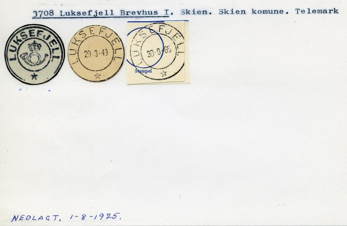 Stempelkatalog, 3708 Luksefjell, Skien kommune, Telemark