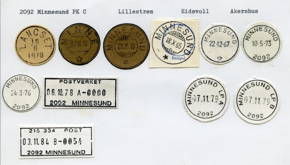 Stempelkatalog  2092 Minnesund, Eidsvoll kommune, Akershus (Langset, Minne)