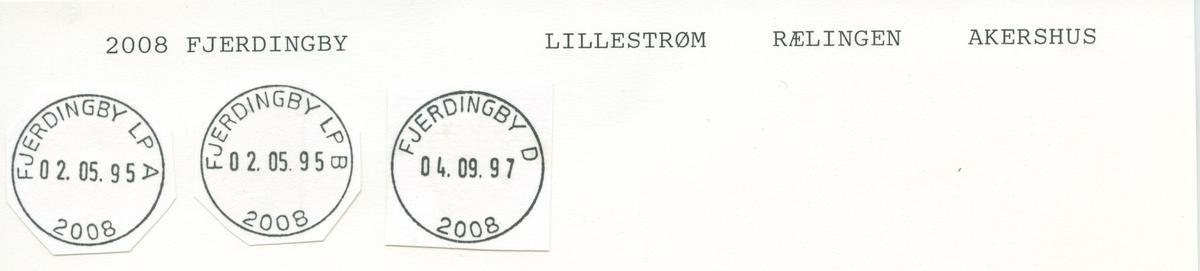 Stempelkatalog,2008 Fjerdingby, Lillestrøm, Rælingen, Akershus