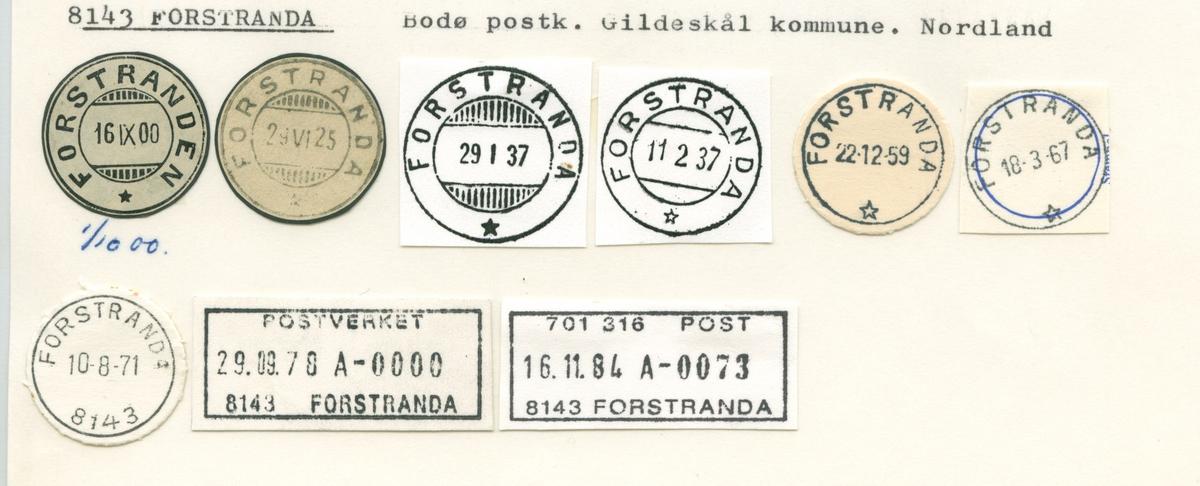 Stempelkatalog. 8143 Forstranda. Bodø postkontor. Gildeskål kommune. Nordland fylke.